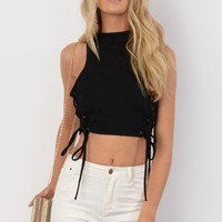 Harriet Black Faux Suede Lace Up Side Crop Top - Womens Fashion Tops | South Avenue