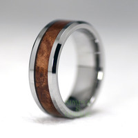 8mm Men's Tungsten Wedding Band, Mahogany Wood Inlay, Wood Ring, Mens Wood Ring, His, For Him, Gift For Him, Unique Anniversary Ring Band