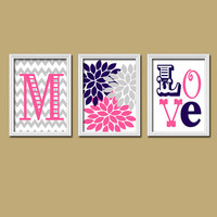 Monogram Child Name Pink Navy Grey Chevron Flower LOVE Nursery Print Artwork Set of 3 Prints Girl Wall Decor Art Picture