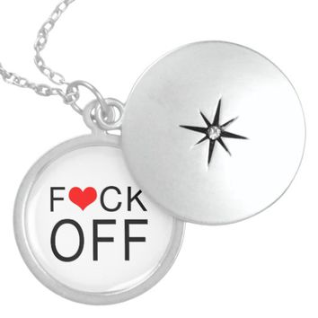 F Heart CK Off Customizable Sterling Silver Necklace