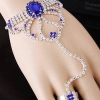 2015 New Free Shipping bridal jewelry sets,wedding jewelry Women sets Unique Rhinestone Flower Chain Bracelet And Ring Set