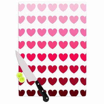 "NL Designs ""Pink Hearts"" Maroon Love Cutting Board"