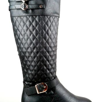 Women's Faux Leather Boot with Quilt Design and Buckles