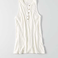 AEO Ribbed Henley Tank , Gray