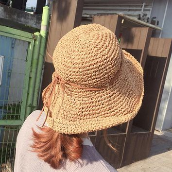 Women's Wide Brim Caps Foldable Summer Hats UPF 50+ Sun Protective Beach Straw Hats Solid Color Sunshade Floppy Sun Caps