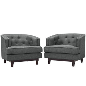 Modway Coast Arm Chair in Tufted Gray Fabric on Walnut Stained Legs (set of 2)