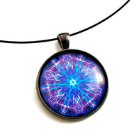 Mandala Art, Chakra, Third Eye Necklace Pendant,  Purple Violet, MEDIUM