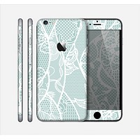 The Subtle Green and White Lace Design Skin for the Apple iPhone 6 Plus