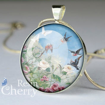 bird necklace pendant,bird pendant charms,resin pendants,Rose, birds and butterflies- D0174CP