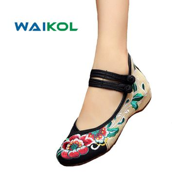 Waikol 4 Colors Women's Shoes Old Peking Mary Jane Flat Heel Denim Flats with Embroidery Soft Sole Casual Shoes Plus Size 41