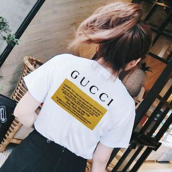 GUCCI  Animal printed short sleeve L-GQHY-DLSX White