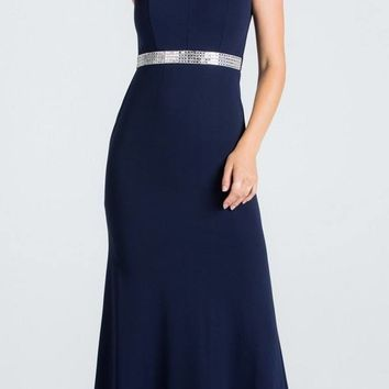 Navy Blue Embellished Waist V-Neck Long Formal Dress