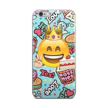 Peace Princess Crown Smiley Face Emoji Collage Yes! Love Donuts Burger Polka Dots Teen Cute Girly Girls Teddy Bear Sky Blue iPhone 4 4s 5 5s 5C 6 6s 6 Plus 6s Plus 7 & 7 Plus Case