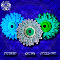 Halloween Party Neon Glow in the Dark Eyeball Flower Pendant in Blue and Purple EyeGloArts Handmade Blacklight jewelry UV wearable Art