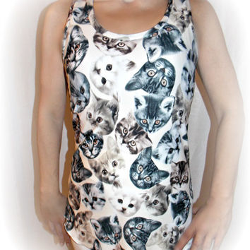 Tank top for women with cat digital print in spandex all size custom made only for you tank top racerback