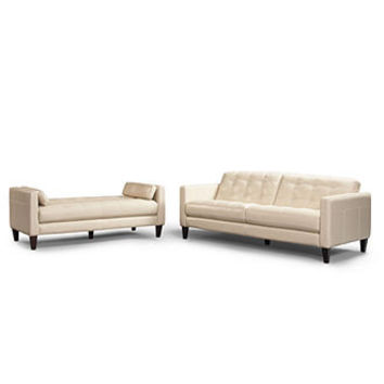 Milan 2-Piece Leather Sofa Set: Sofa and Daybed - Couches & Sofas - furniture - Macy's