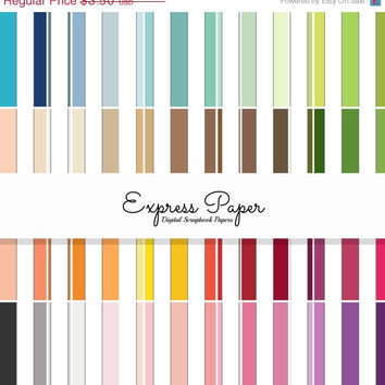SALE 64 large vertical stripe digital papers- 12x12 and 8.5x11 included- Digital Paper Rainbow includes dark, bright, neutral and pastel col