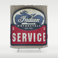 Indian Motorcycle Service Shower Curtain by Veronica Ventress