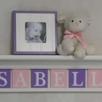 "Baby Girl Name Sign Nursery Decor 30"" Linen White Shelf with 8 Letter Wooden Tiles Painted Purple and Light Pink - ISABELLA"