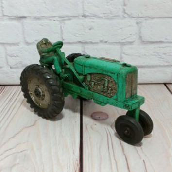 Vintage Auburn Rubber Toy Tractor With Headless Rider Mint Green 572