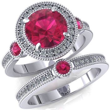 Brachium Round Ruby Bezel Milgrain Halo 3/4 Eternity Accent Diamond Ring
