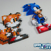 Sonic the Hedgehog and Miles Tails Prower Triple Trouble Perler Bead Sprite Set