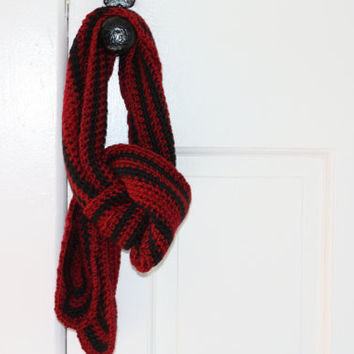 Red with Navy Blue Stripe Knit Scarf - Extra Long Scarf - Long Red Scarf - Long Striped Scarf - Crochet Scarf