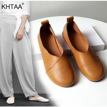 KHTAA Women Loafers Genuine Leather Flat Shoes Ladies Slip On Vi 5207f160ec00