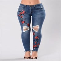 Stylish Women clothes Skinny Ripped High Waist Stretch Jeans Hole Button pocket Floral print Slim Pencil Denim Trouser one piece