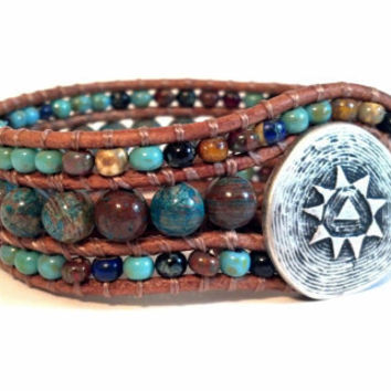 Mosaic Cuff Beaded Leather Cuff Bracelet Southwest by PZWDesign