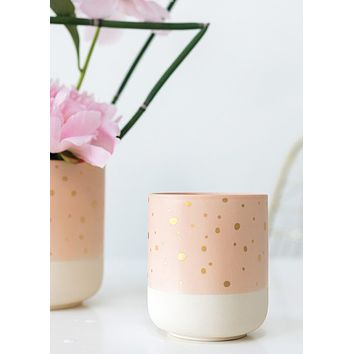 "Nola Ceramic Flower Pot in Pink Blush Gold - 5.25"" Tall x 5"" Wide"