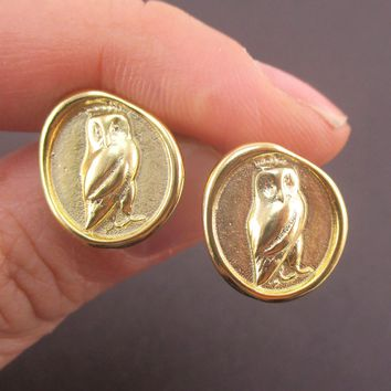 Round Owl Wax Seal Shaped Stud Earrings in Silver or Gold