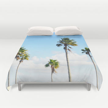 North Beach Palms - Duvet Cover, Tropical Palm Trees Beach Bedding, Blue Green Boho Chic Surf Style Bed Blanket Throw. Twin Full Queen King
