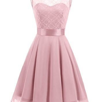 US Women's Short Floral Lace Bridesmaid Dress A-line Swing Party Dress