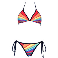 Sexy rainbow stripes bikini