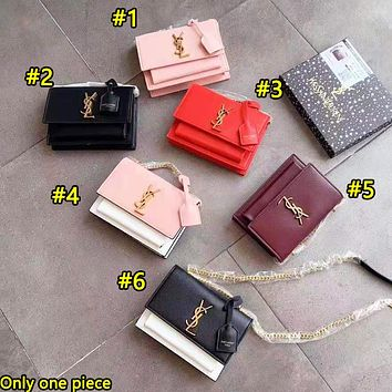 YSL fashion casual lady Mosaic color shoulder bag is a hot seller shopping bag