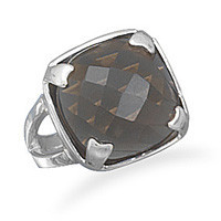 Square Faceted Smoky Quartz Ring