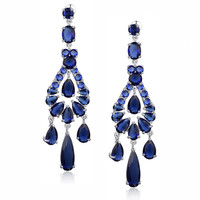 Blue Teardrop, Round and Oval Cubic Zirconia Chandelier Earrings