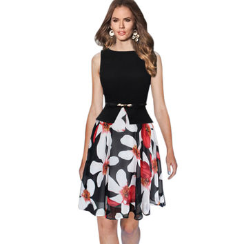 Womens Summer Vintage Elegant Belted Polka Dot Chiffon Floral Print Patchwork Tunic Work Office Party Fit and Flare A-Line Dress