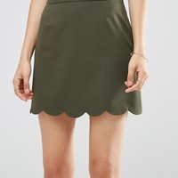 ASOS A-Line Mini Skirt with Scallop Hem