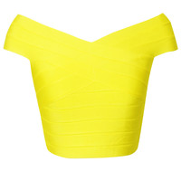 Off The Shoulder Yellow Bandage Crop Top