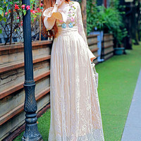 Apricot Ruffles Lace Embroidered Maxi Dress