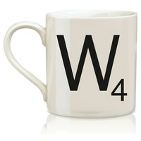 Wild and Wolf Ltd Scrabble Alphabet Mug - W - Hasbro Coffee Mug Beverage SCR023