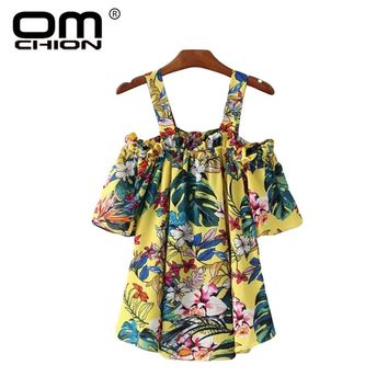 Feminina Floral Printed Summer Blouse Women Slash Neck Off Shoulder Strap Shirt Sweet Cute Casual Tops