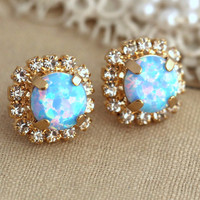 Opal earrings, Sky Blue Opal Stud earrings, Crystal Swarovski stud earrings, Opal Crystal studs, Gift for her,  Opal jewelry, Opal Studs