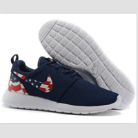 NIKE Roshe run fashion leisure network sports shoes Dark blue