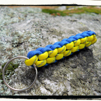 Royal Blue and Yellow Reflective Paracord Keychain
