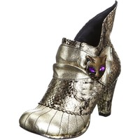Irregular Choice Miaow Golden Black New Leather Womens Hi Ankle Boots Shoes