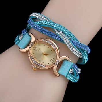 New Arrival Designer's Great Deal Trendy Good Price Awesome Gift Stylish Ladies Hot Sale Double Color Diamonds Korean Casual Watch [11668226127]