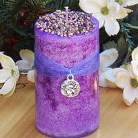 Heather Alchemy Candle 2x3 . Luck, Protection, Spirit Conjure, Rain Making, Faerie Magick, with Pink Heather